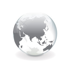 White gray vector world globe - asia