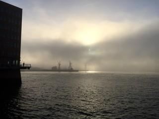 Hamburger Hafen morgens im Nebel