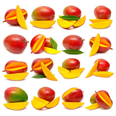 Collection of mango with leaf and slices