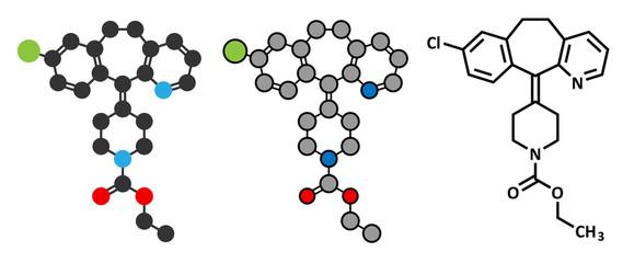 Loratadine antihistamine drug molecule.