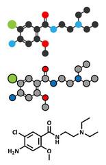 Metoclopramide nausea and vomiting treatment drug molecule.