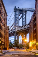 Manhattan Bridge seen from Brooklyn, New York City.