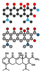 Minocycline antibiotic drug (tetracycline class) molecule.