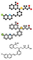 Montelukast asthma and airway allergy drug molecule.