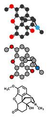 Oxycodone pain relief drug molecule.