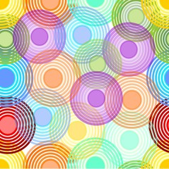 Background with concentric circles in pastel rainbow colors