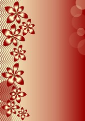 Background with red flowers and waves on red gradient