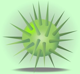 3d green ball with prickles