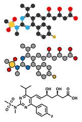 Rosuvastatin cholesterol lowering drug (statin class) molecule.