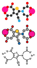 Strontium ranelate osteoporosis drug molecule.