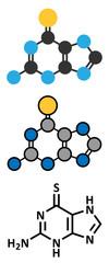 Tioguanine leukemia and ulcerative colitis drug molecule.