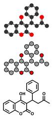 Warfarin anticoagulant drug molecule.