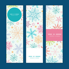 Vector colorful doodle snowflakes vertical banners set pattern