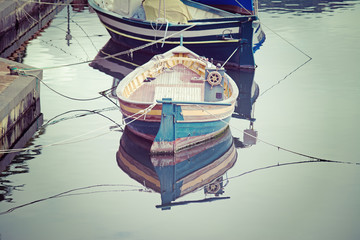 old wooden boats in vintage tone