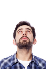 Closep of a man looking up, isolated on white background