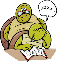 sleeping turtle on lesson cartoon