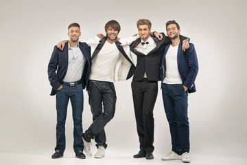 Group of handsome and elegant guys