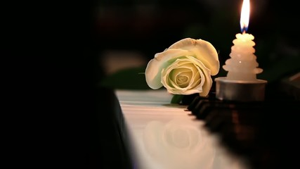 White Rose and Candleon Piano Keys