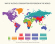 Map of alcohol consumption per person in the world