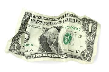 Crumpled one dollar banknote