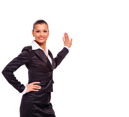 Happy smiling business woman showing blank signboard,