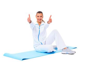 fitness woman making a break in tailor-seat