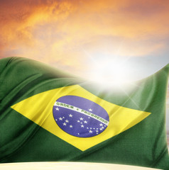 Brazil flag and sky