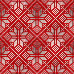 Christmas sweater design on the wool knitted texture