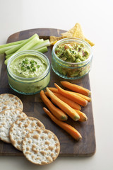 Avocado paste with vegetable and cracker