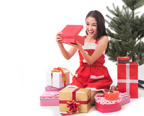 Beautiful Asia woman wear Santa Clause costume