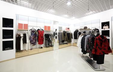 brand new interior of cloth store