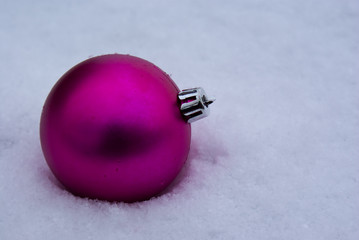 Pink Ornament in Snow