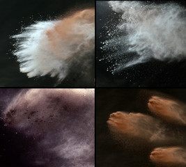 Multiple picture of the colorful dust