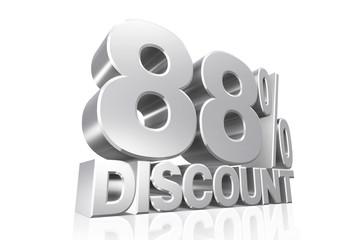 3D render silver text 88 percent discount.
