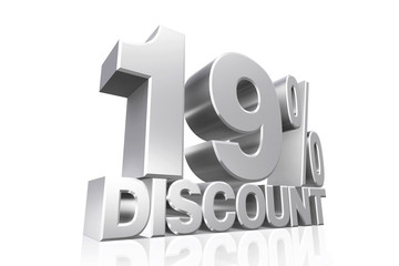 3D render silver text 19 percent discount.