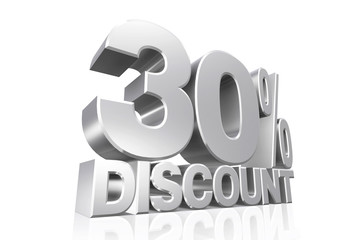 3D render silver text 30 percent discount.