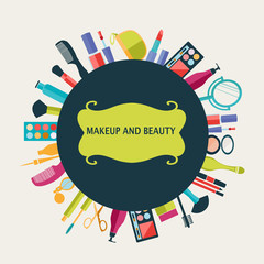 pattern MakeUp and beauty cosmetic Symbols pattern  background