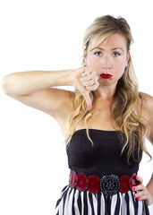 stylish caucasian female with thumbs down gesture
