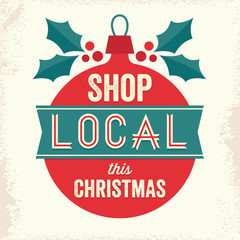 vintage sign shop local this christmas red teal green