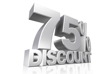 3D render silver text 75 percent discount.