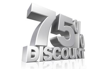 3D render silver text 75 percent discount.