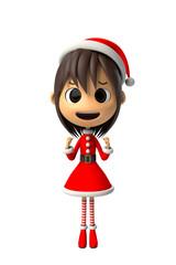 サンタクロースの衣装を着た女の子