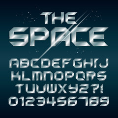 Futuristic Silver Chrome Alphabet and Numbers, Editable eps10 Ve