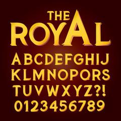 Golden Exclusive Luxury Alphabet and Numbers, Editable eps10 Vec