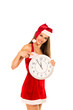 Woman In Santa Claus Costume Showing Clock