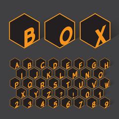 Geometric Box Alphabet and Numbers, Eps 10 Vector Editable