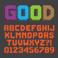 Abstract Retro Alphabet and Numbers, Editable eps10 Vector