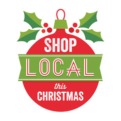 vintage sign shop local this christmas red green white
