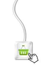 Computer key with shopping cart