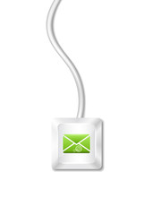 Computer key with envelope icon